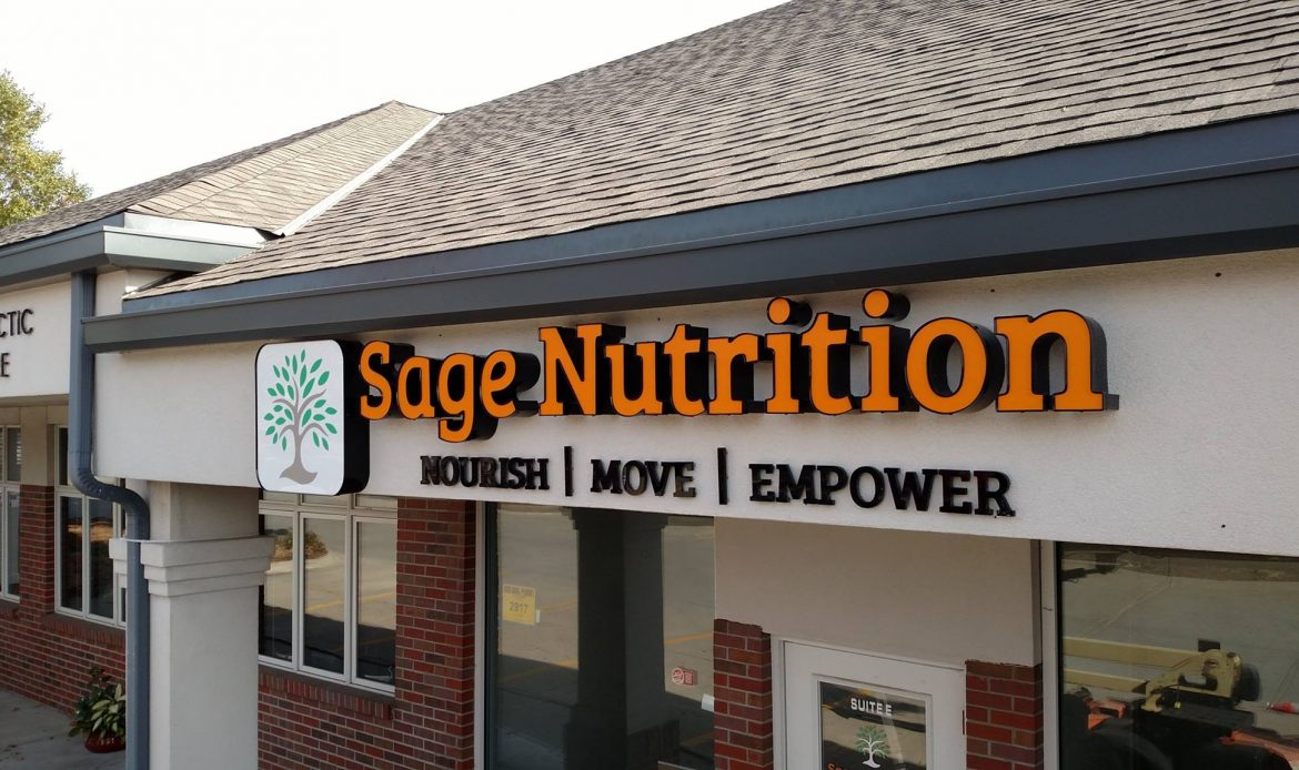Sage nutrition LED illuminated channel letter sign